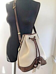 """VTG Dooney Bourke Tan White Leather Bucket Crossbody Messenger Handbag EUC 11.5"""""""