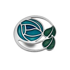 Turquoise Mackintosh Rose Brooch 45mm Silver Plated Brand New Gift Packaging