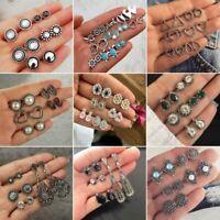 5/6Pairs/Set Vintage Women Boho Crystal Hollow Carved Earrings Jewelry Ear Stud