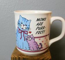 """Vintage """" Moms are Purrfect """" Kitty Cat Mug 3.75"""""""