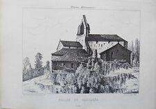 Litografía siglo XIX Iglesia de carcares Las landas Faucher Eugène Joubert