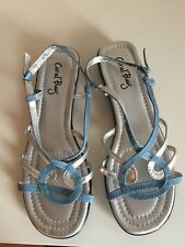 New Coral Bay Sandal, Size 8, Light Blue/Silver/Black