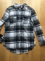 H&M Checked Boyfriend Fit Shirt Black White Squares Size S M 8 10 Casual Office
