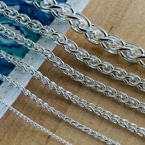 Real Solid 925 Sterling Silver Wheat Spiga Rope Chain Necklace Made in Italy