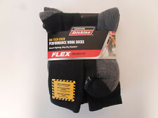 Dickies Size 6-12 Mens Comfort Crew Work Socks 6 Pairs Black Arch Compression