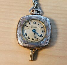 Vintage La Mode Watch Pendant Gold Filled with  24 in Chain Works