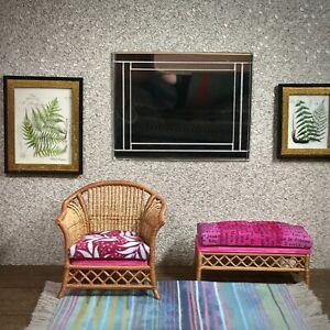 1:12 Dollhouse miniature cane rattan armchair and stool tropical cerise