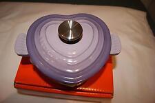 Le Creuset Cast Iron 16cm 1L Heart Shaped Casserole Pot Blue Bell Purple ~RARE