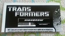 Transformers HFTD HIGHBROW INSTRUCTION BOOKLET ONLY AUTHENTIC