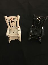 TWO VINTAGE DOLLHOUSE MINIATURE METAL ROCKING CHAIRS SALT & PEPPER SHAKERS