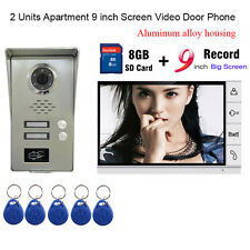 "2 Units Apartment intercom 9"" LCD Record Video Door Phone doorbell RFID Keyfobs"
