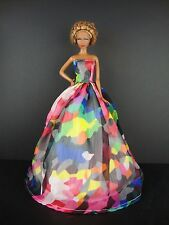 Beautiful Multi Color Blocked Gown Made to Fit Barbie Doll