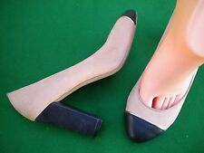LADIES NEAR NEW WITCHERY BEIGE / BLACK LEATHER  HEEL SHOES SIZE 6/ 37