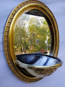 "Vtg Home Oval Wall Mirror Metallic Gold Syroco Plastic 14.5"" x 12"" Attached Bowl"