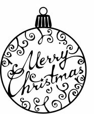 Christmas - Bauble #3 - Merry Christmas Unmounted Clear Stamp Approx 50x60mm