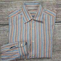 Ermenegildo Zegna Men's Long Sleeve Casual Blue Button Down Shirt Size Large