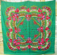 Wool japanese Green shawl with lurex Boho hair wrap Russian Piano shawl Mother