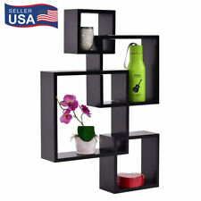Intersecting Squares Floating Shelf Wall Mounted Home Decor Furniture Black