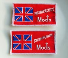 BIRMINGHAM / WARWICKSHIRE MODS 2 x VINTAGE SEW ON PATCHES OLD SHOP STOCK SCOOTER