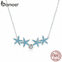 BAMOER Women Fine Necklace S925 Sterling Silver Blue CZ Pendant Starfish Jewelry