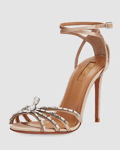 $890 Aquazzura Women's Beige 105mm Ankle-Wrap Spider Sandal Shoes EU 37.5/US 7.5