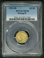 1911 D Strong D Indian $2.50 Quarter Eagle Gold PCGS XF 45