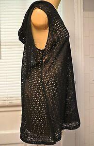 Catalina Black Open Crochet Knit Beach/Bathing Cover Up Tunic Top w. Hood-1X-EC
