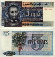 Burma 5 Kyats Crisp UNC Banknote