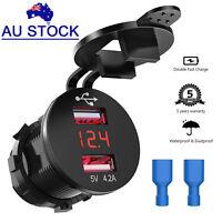 12V 24V Rocker LED Car Charger 4.2A Dual USB Charging Port Digital Voltmeter