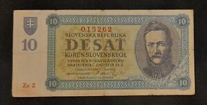 Slovakia 10 Korun 1943 rare serie , good condition.