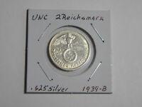 UNC German 🇩🇪 2 Mark Silver Coin Third Reich Large Swastika Reichsmark 1939-B