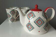 Whittard of Chelsea Large Tea Pot & 4 Mugs Red, Blue & White Full Set