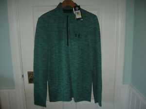 BNWT MEN UNDER ARMOUR ½ ZIP SEAMLESS GOLF TRAINING GYM MIDLAYER TOP MED GREEN