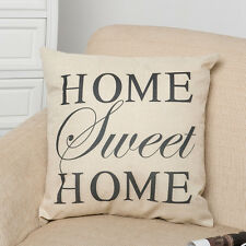 "18"" Home Sweet Home Cotton Lined Pillow Case Cushion Cover Sofa Car Decor AU"