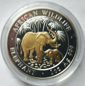 "SOMALIA: 100 Shilling 2007, ""ELEFANT"", (BeBa05/06), Stgl., teilvergoldet."