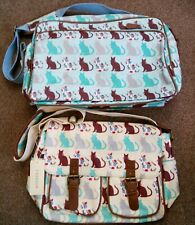 2 BNWT Oil cloth Cats Print Cross Body Shoulder Overnight Satchel Bag Blue cream