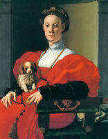 Oil painting jacopo da pontormo - Lady portrait to the small cabin woman & dog
