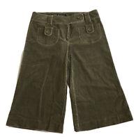 INC International Concepts Corduroy Wide Leg Capri Pants Camo Green Sz 8 NWT $69