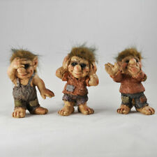 Three Wise Trolls See Hear Speak No Evil Ornaments Sculptures Figurines