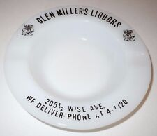 Glen Miller's Liquors Ashtray Dundalk MD Maryland Vintage Antique Wise Ave White