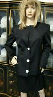 VALENTINO BOUTIQUE BLACK SILK  EMBROIDERED SKIRT SUIT  SZ 8 STUNNING!