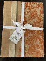 "Williams Sonoma ACORN HARVEST JACQUARD Gold & Pumpkin Tablecloth 70""x 90"" $150!"