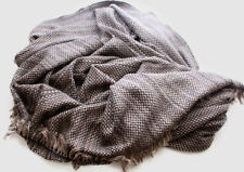Luxurious Black and Grey Hand Knitted Cashmere Blanket
