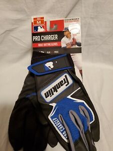 New Pair Adult Franklin 21381F2 Pro Charger Baseball Batting Gloves Blue Size M