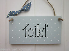 SHABBY TOILET SIGN PLAQUE painted in Duck Egg Paint Chic Vintage Style