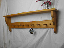 wooden coat peg rack shaker style 7 peg LIGHT OAK STAIN shaker pegs peg rail