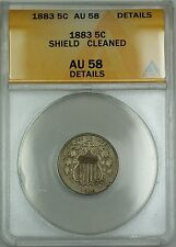 1883 Shield Nickel 5c Coin ANACS AU-58 Details Cleaned