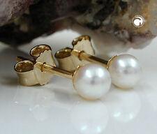 ECHT GOLD SWZ Perlen Stecker mit echter Zuchtperle 5,00 mm rund 375 Gold 9 kt.