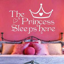 The Princess Sleeps Here Art Vinyl Quote DIY Wall Sticker Home Room Decor Decal