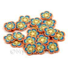 2x 50 rebanadas de caña de flores de naranja y azul-Arte en Uñas (dns61)